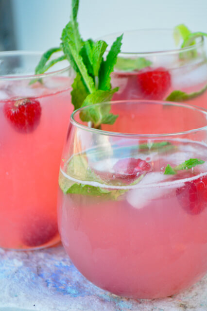 low potassium raspberry mint limeade with sprig of mint
