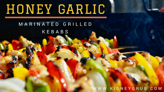 kidney friendly chicken kebabs with pepper and onion on grill