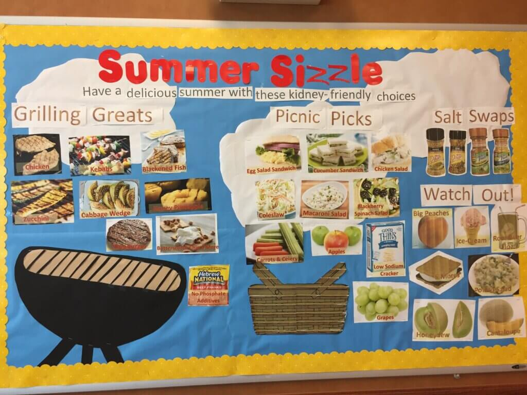dialysis bulletin board for summer with renal diet grilling and picnic ideas