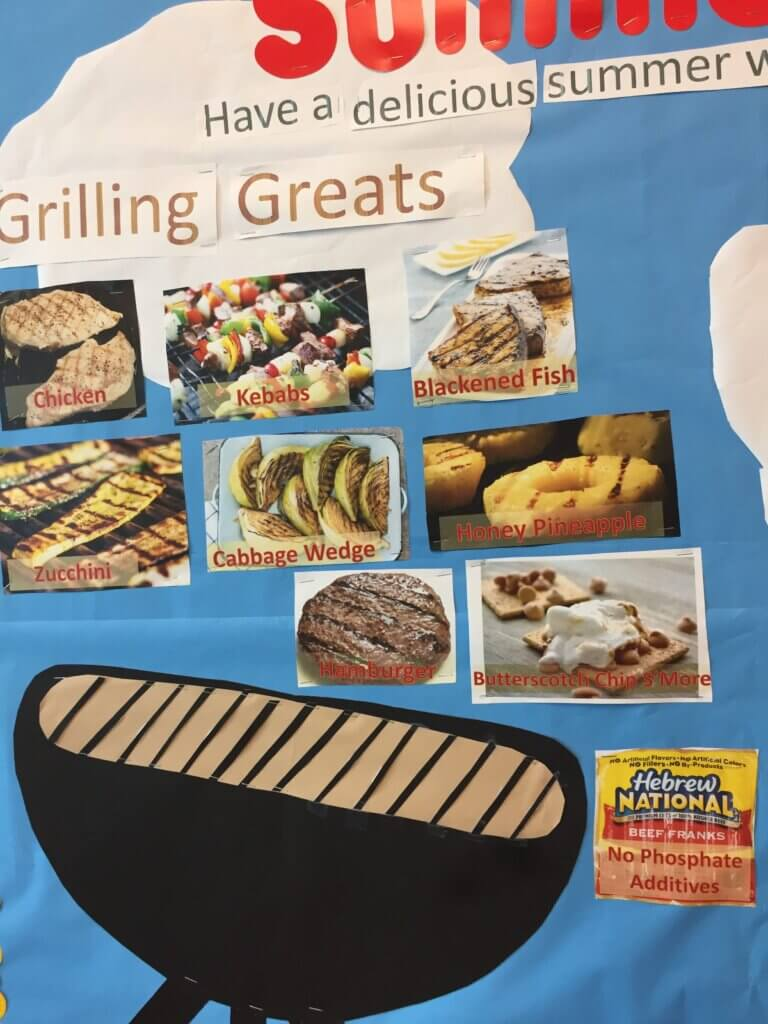 summer bulletin board for dialysis unit with grilling ideas