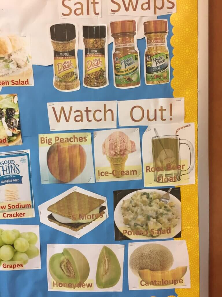 bulletin board for dialysis with foods to avoid