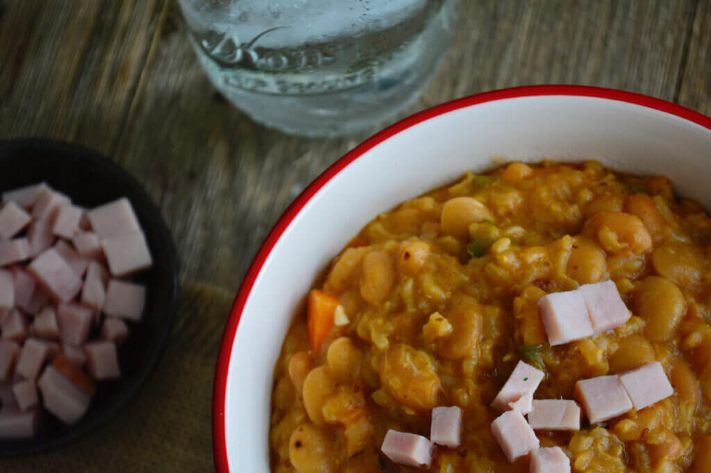 A lower sodium and lower potassium ham and beans choice for the renal diet.